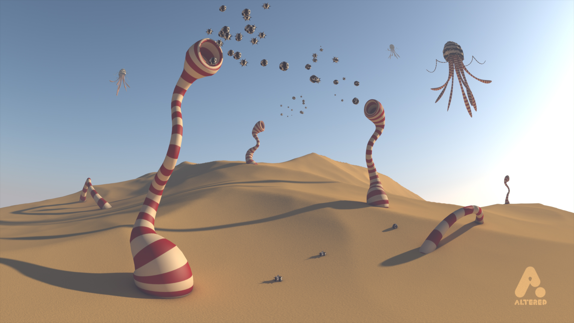 Altered TV motion graphics studio, London, crystal CG 3d render alien planet sand dunes and strange alien creatures