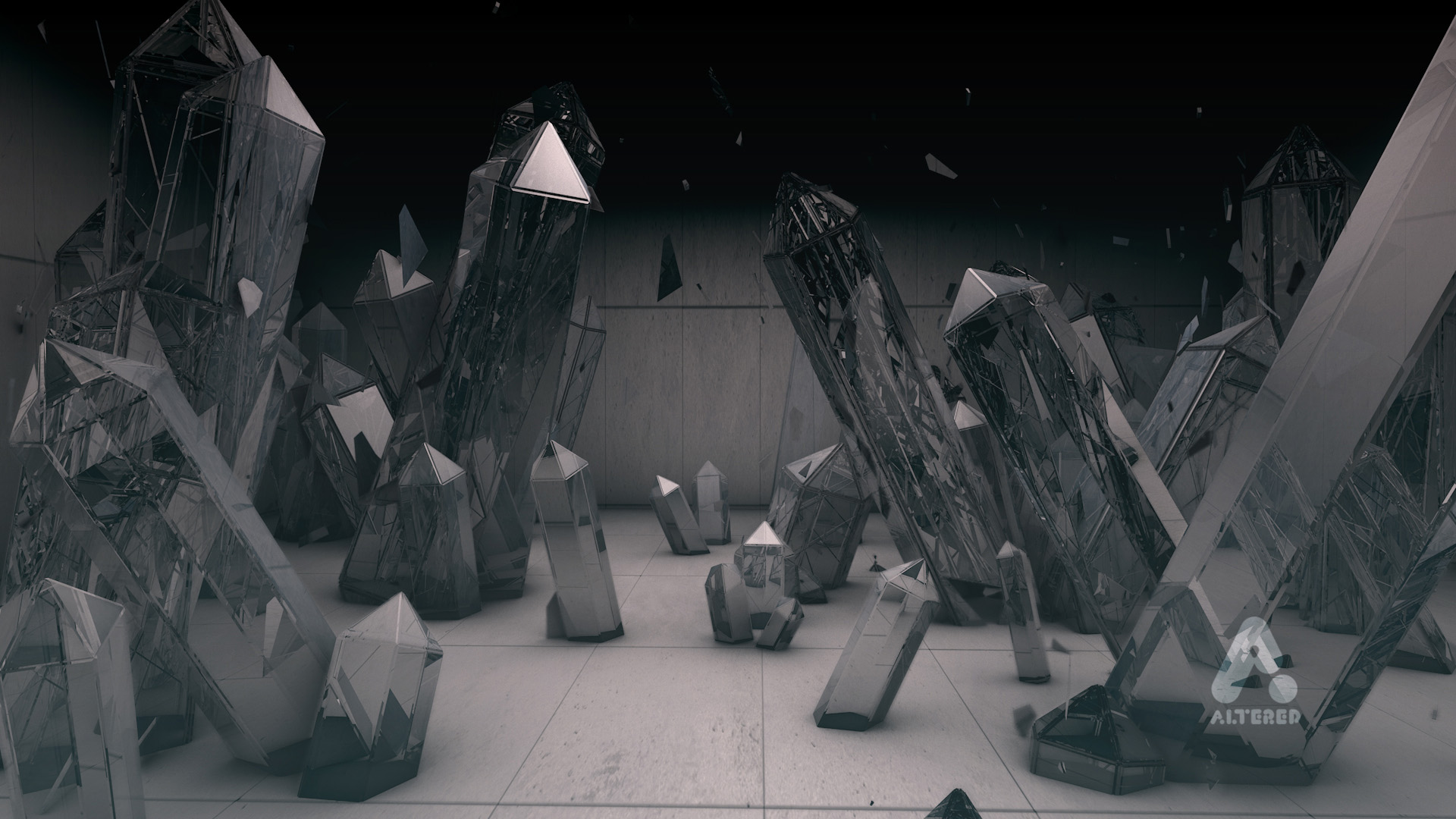 Altered TV motion graphics studio, London, crystal CG 3d render of crystals in concrete room
