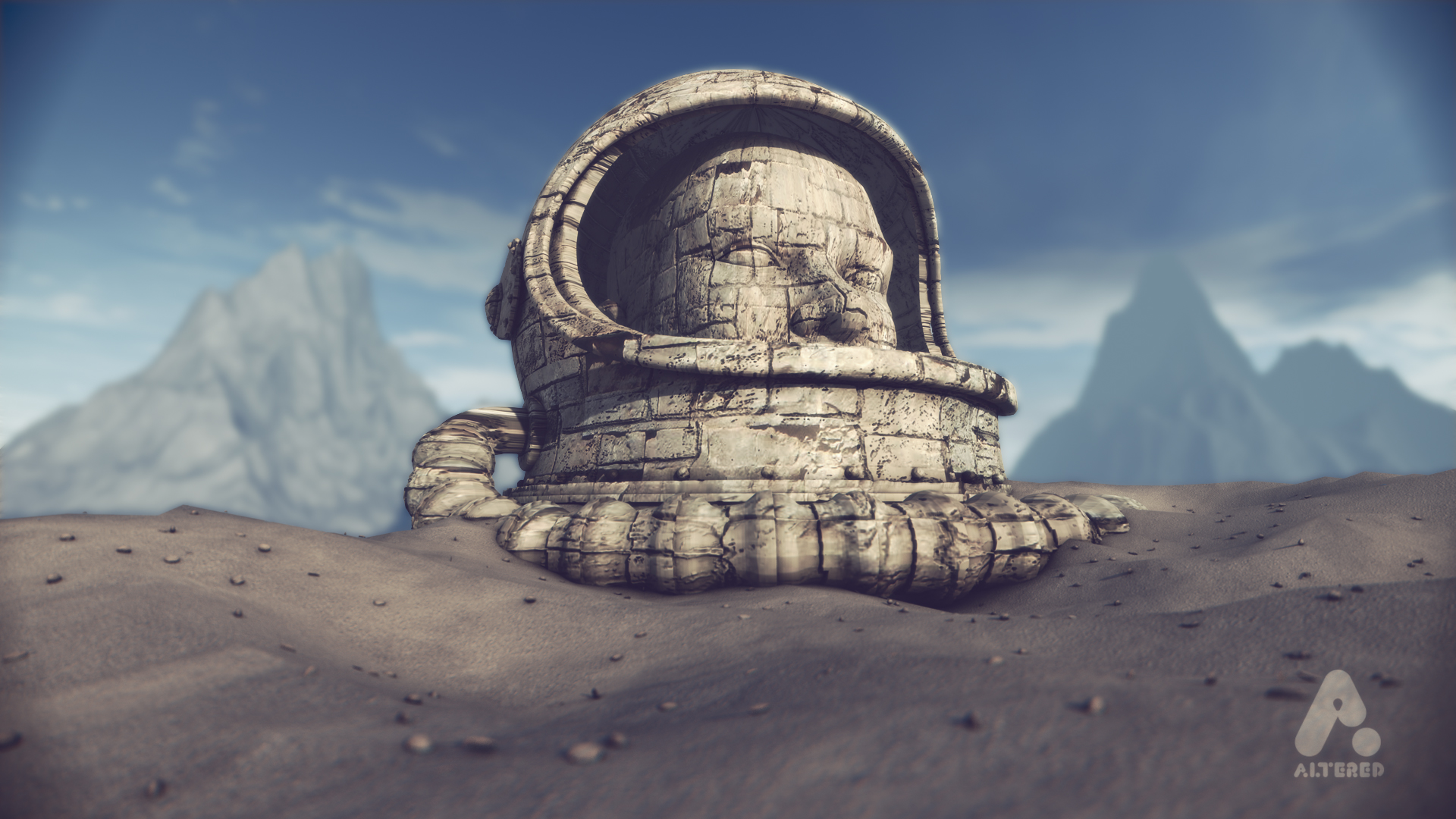 Planet 42, retro stone spaceman helmet in the desert, CG 3D motion graphics animated short film, design animation art direction altered.tv London